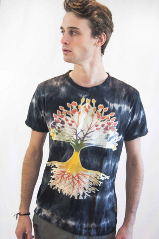 Men's Tree of Life Shirt Black Tie Dye - Koia Collective
