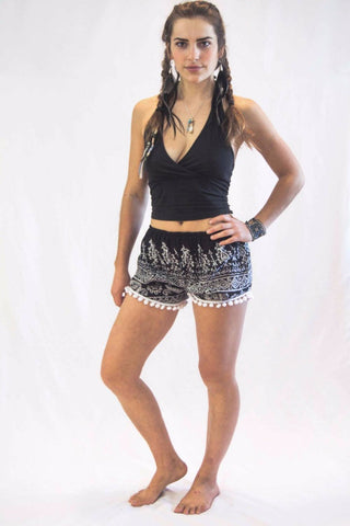 Tribal Print Pom Pom Shorts Black - Koia Collective