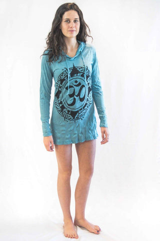 Ohm Hoodie Dress Turquiose - Koia Collective