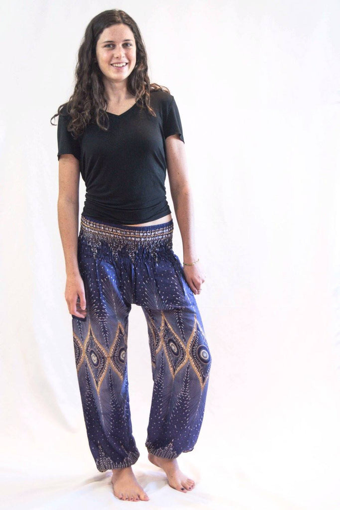 Diamond Peacock Harem Pants Blue - Koia Collective