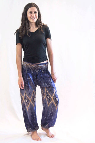 Diamond Peacock Women's Harem Pants Blue - Koia Collective