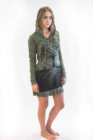 Tree of Life Hoodie Dress Green Brown - Koia Collective