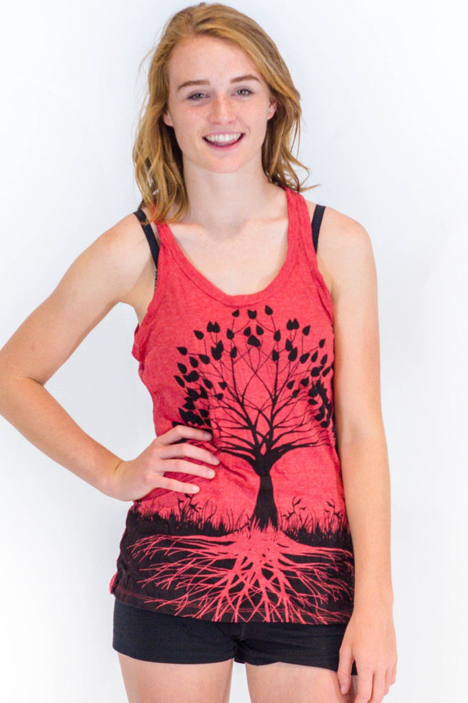 Women's Tank Tree of Life Red - Koia Collective