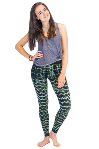 Grey Green Melting Stripes Tie Dye Leggings - Koia Collective