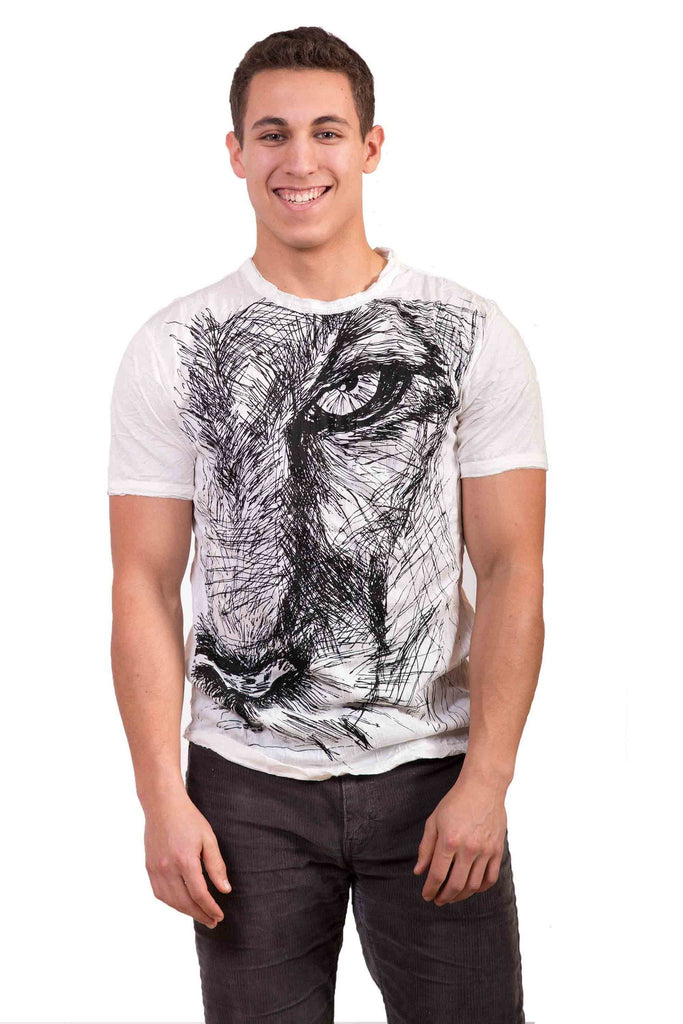 Men's Lion Eye Shirt White - Koia Collective