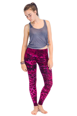 Dark Pink Marble Tie Dye Leggings - Koia Collective