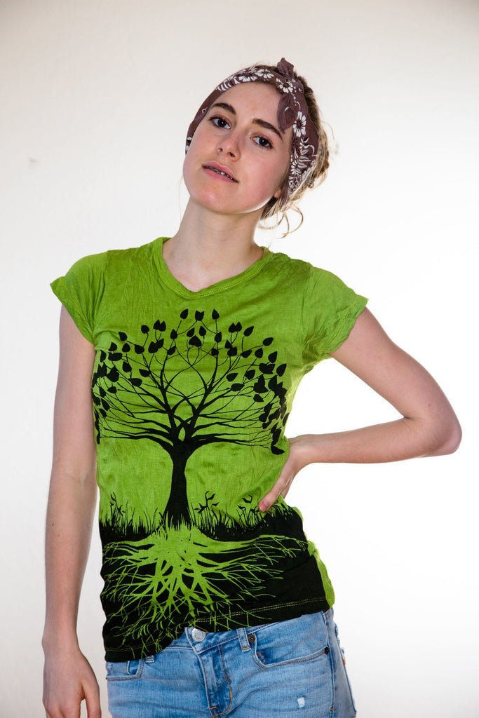 Women's Shirt Tree of Life Green - Koia Collective