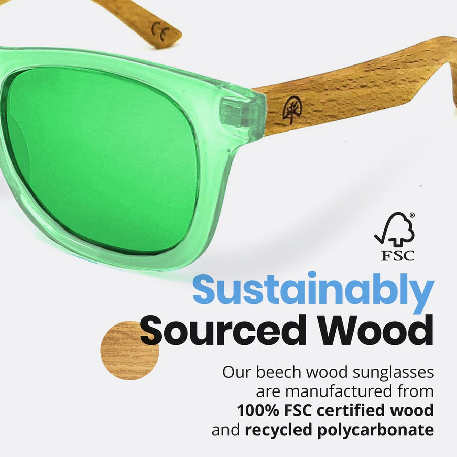 Kids Beech Wood Sunglasses - Green