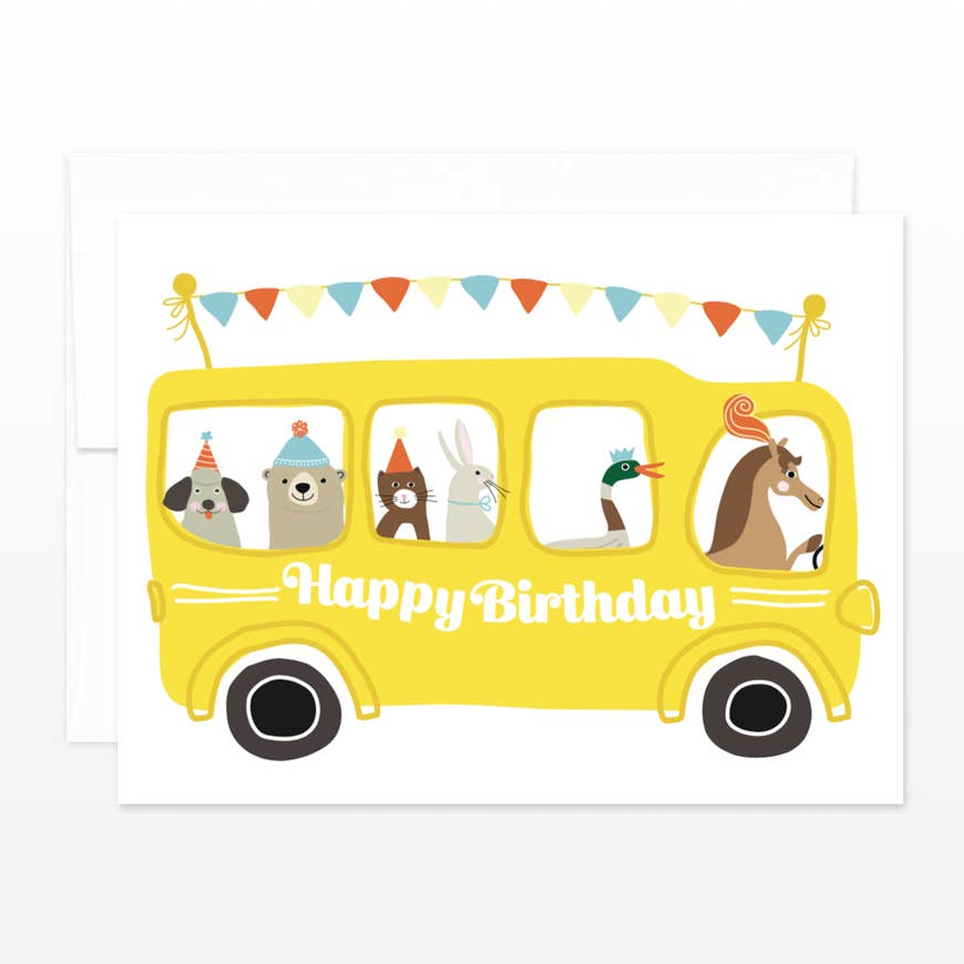School Bus Birthday Card