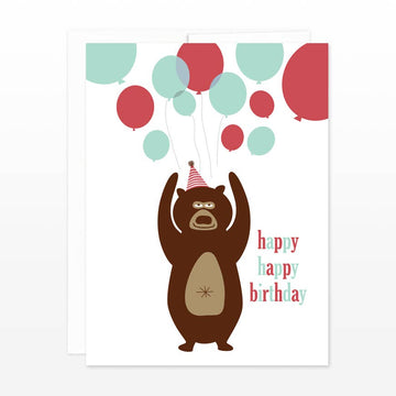 Bear & Balloons Birthday Card