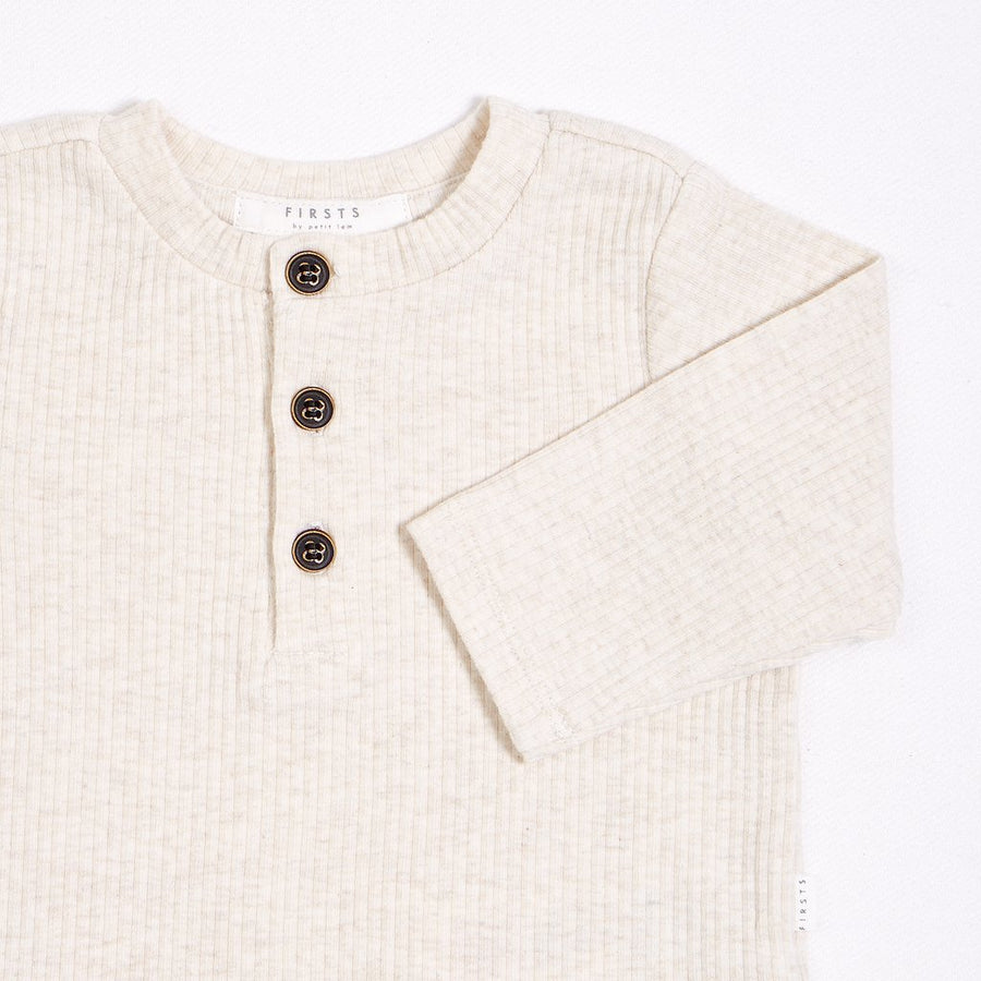 FIRSTS Cream Henley Top with Organic Cotton