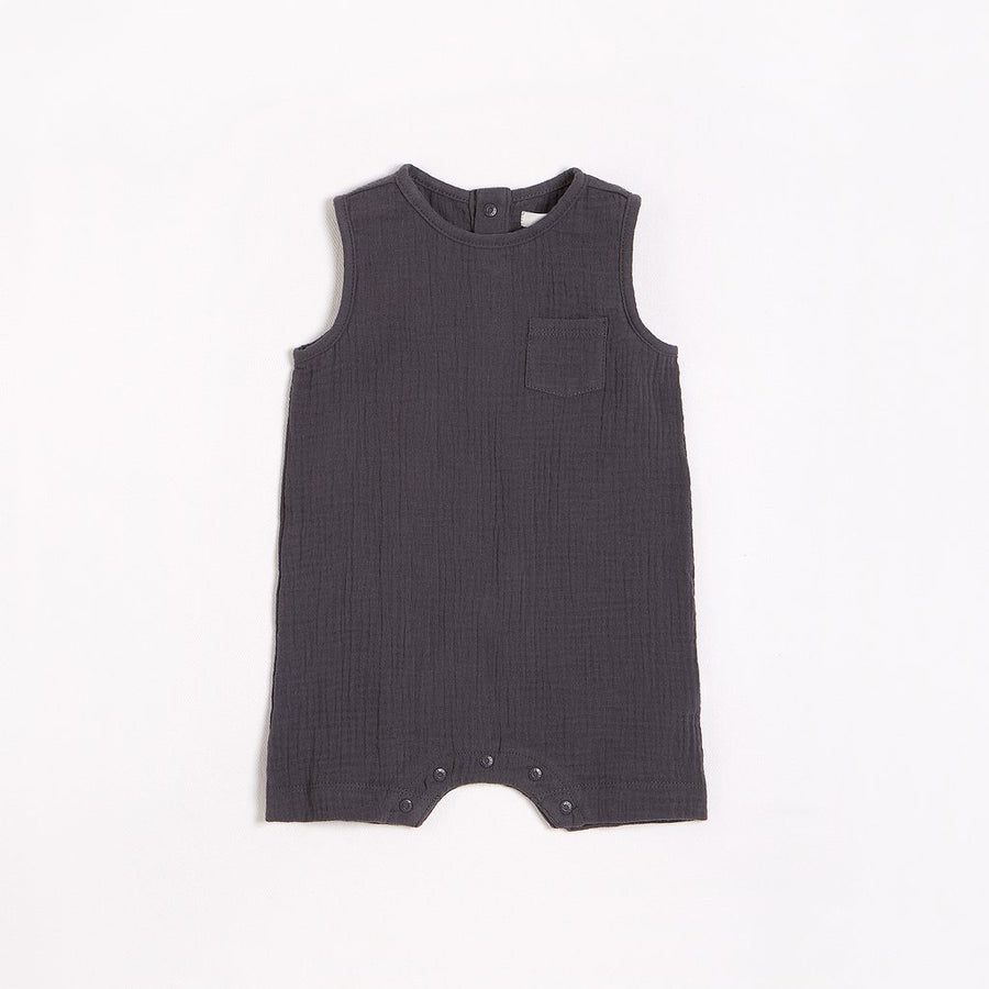 FIRSTS Asphalt Sleeveless Romper with Organic Cotton