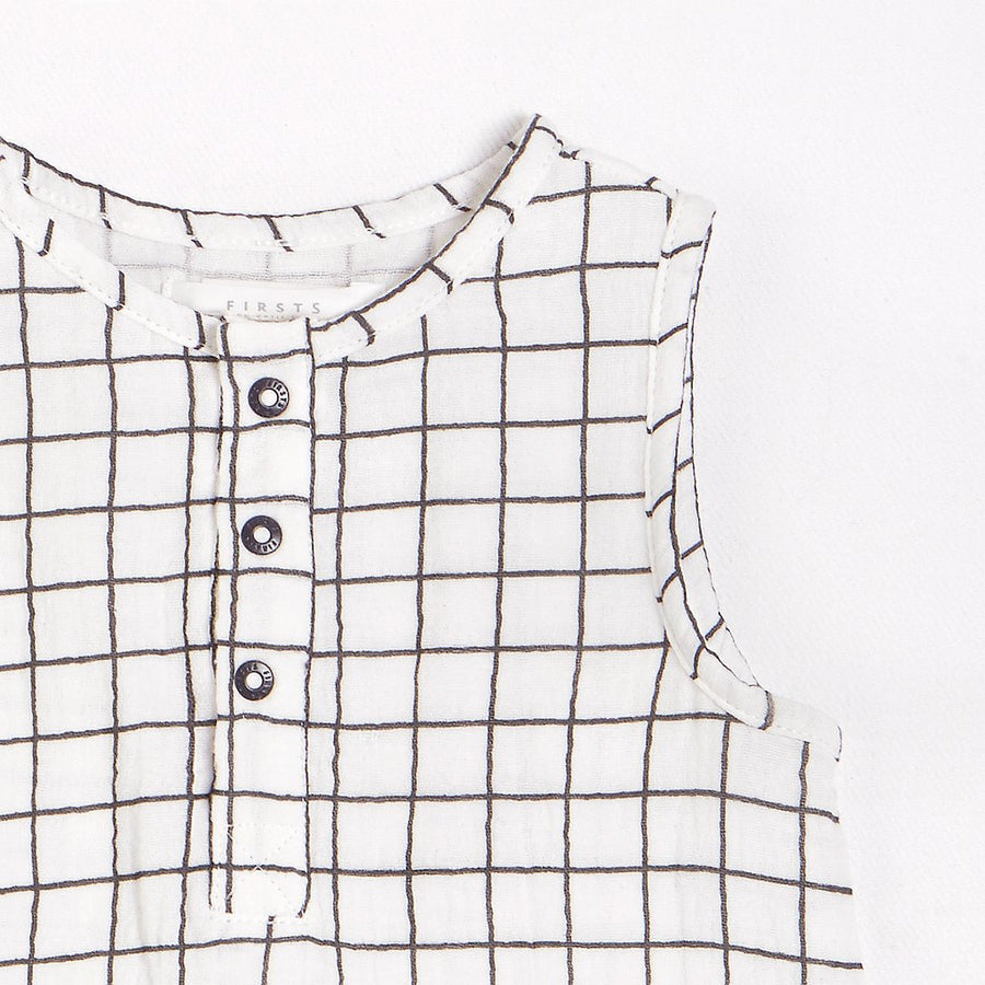FIRSTS Window Pane Playsuit with Organic Cotton