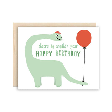 Dinosaur with Balloon Birthday Card