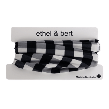 Infinity Scarf - Black and White Buffalo Plaid