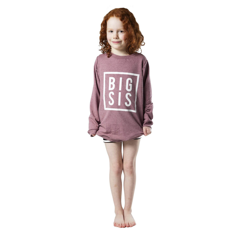 Big Sis Sweatshirt - Heather Mauve / White
