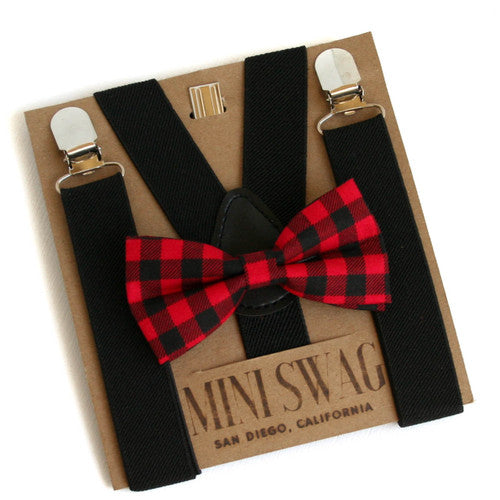 Buffalo Plaid Bow Tie & Black Suspenders