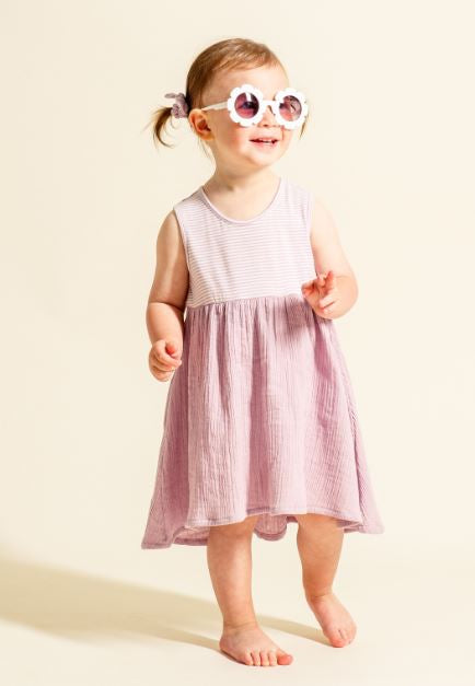 The Mixed Dress - Pink Cloud Stripe