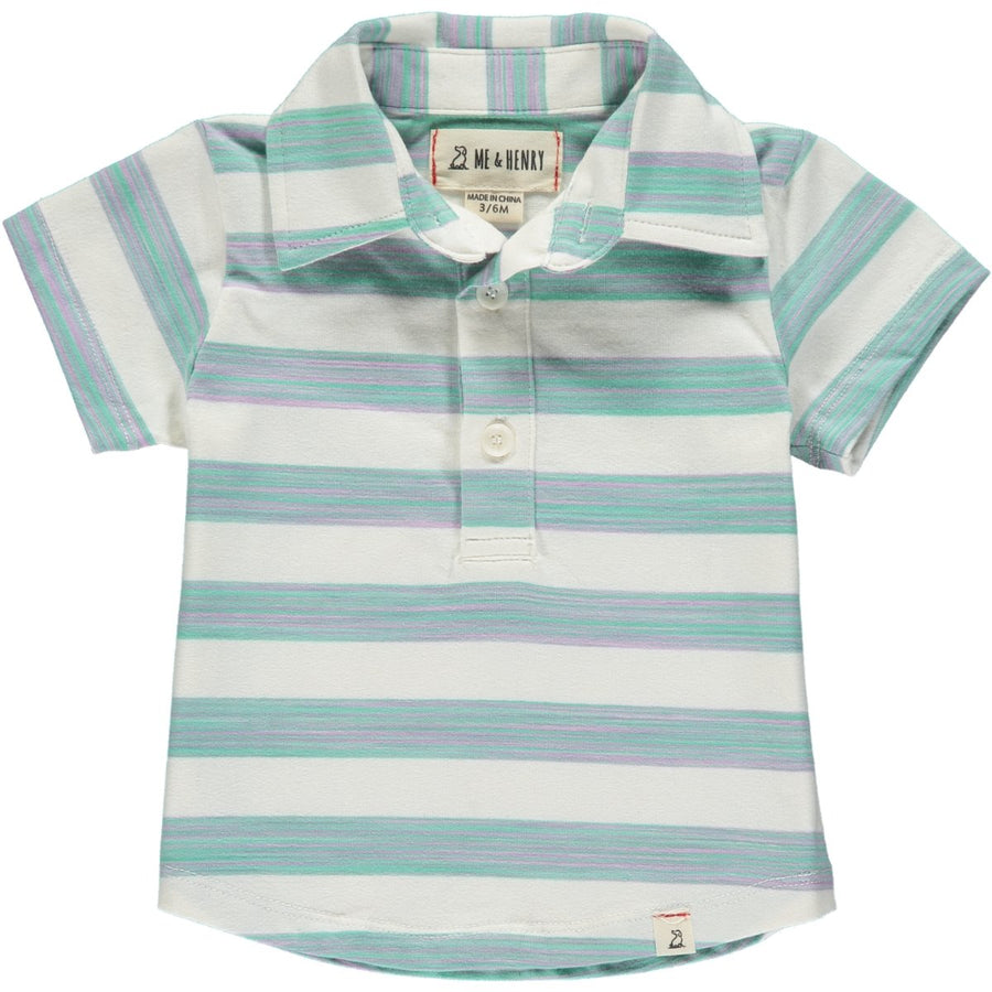 Green/white stripe polo