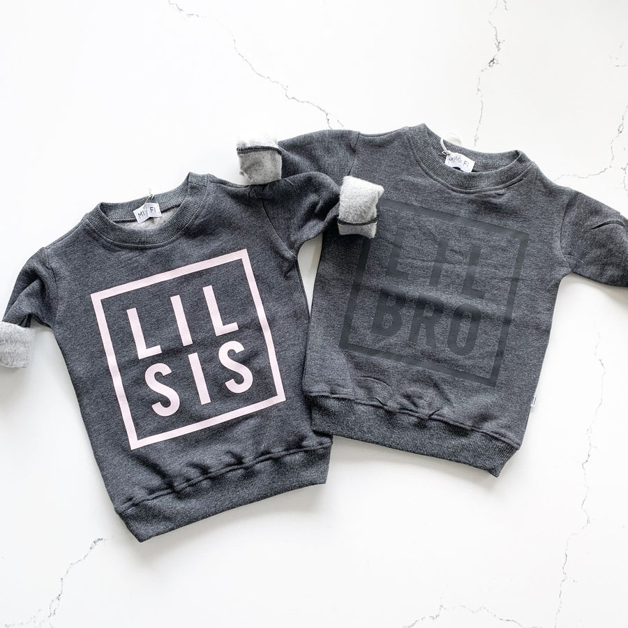 Lil Sis Sweatshirt - Charcoal with Pink Writing