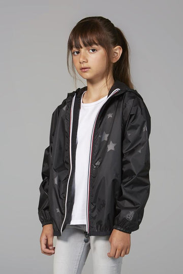 SAM PRINT - KIDS BLACK GLOSS STARS PACKABLE RAIN JACKET