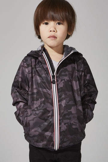 Sam Print - Kids Black Camo Full Zip Packable Rain Jacket