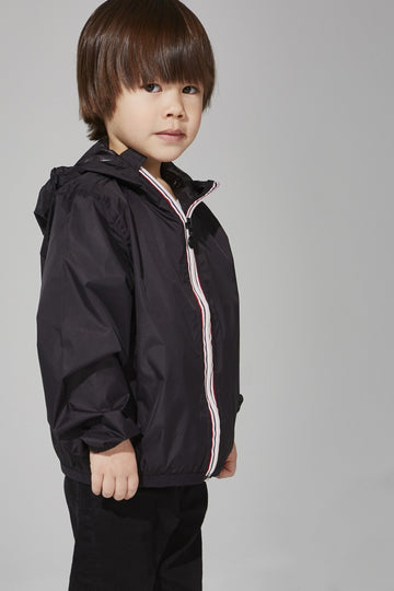 Sam - Kids Black Full Zip Packable Rain Jacket