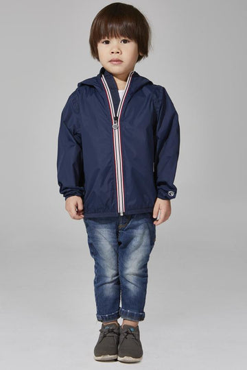 SAM - KIDS NAVY FULL ZIP PACKABLE RAIN JACKET