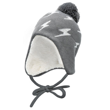 Grey Lightning Bolt Ear Flap Hat