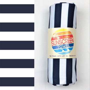 UPF 50+ Sunscreen Towel with Hood | Navy Stripes