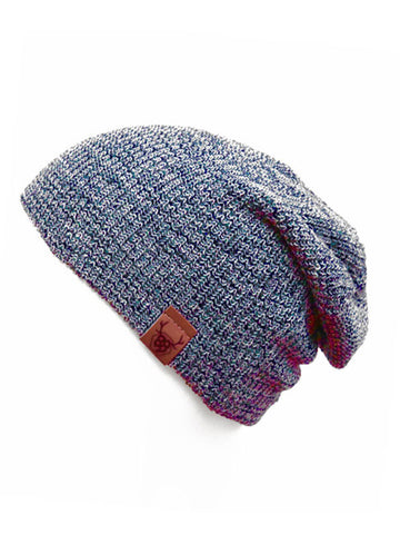 Navy Acid Wash Knit Slouch Beanie