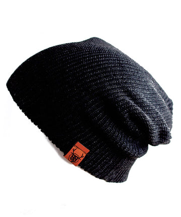 Black Knit Slouch Beanie