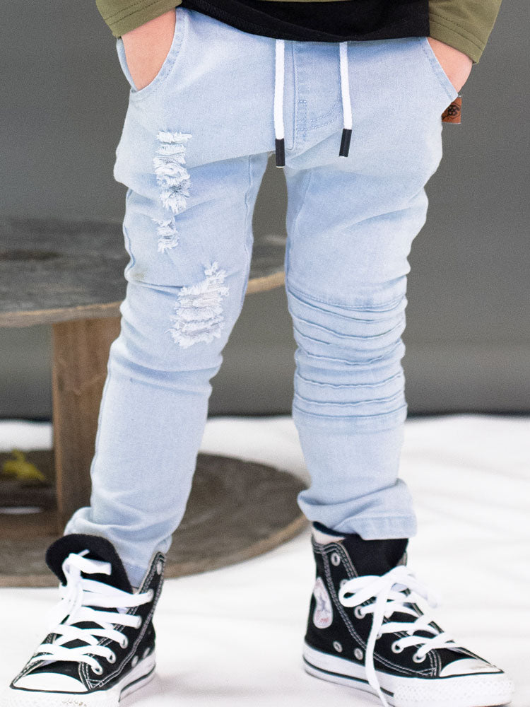 Blonde Wash Distressed Denim Jeans