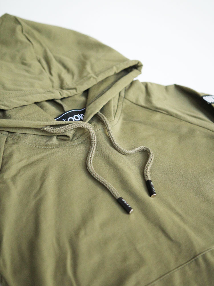 Olive Long Sleeve Hooded Top