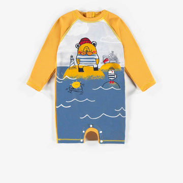 YELLOW LONG-SLEEVE SWIM ONE-PIECE