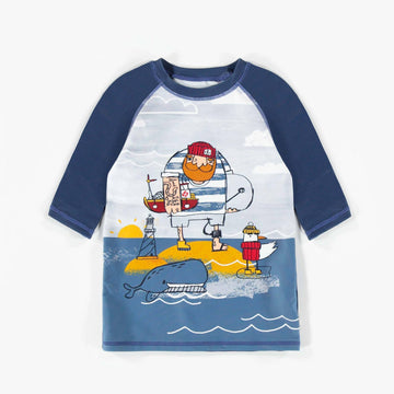 BLUE SHORT-SLEEVE SWIM T-SHIRT, BOY