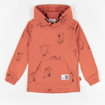 BROWN PATTERNED HOODED SWEATER, BOY
