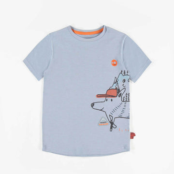 STRETCH JERSEY BLUE T-SHIRT WITH ILLUSTRATIONS, BOY