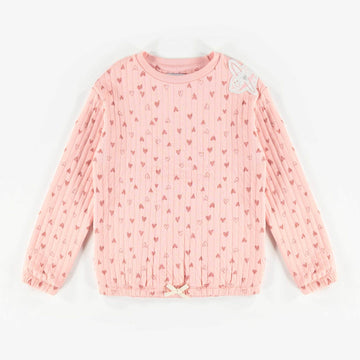 PINK PATTERN BONDED SWEATER, GIRL