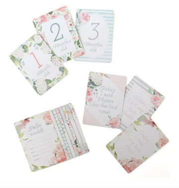 Itzy Moments Double-Sided Baby Milestone Cards | Floral