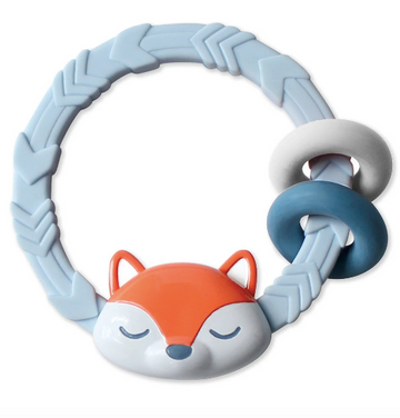 Ritzy Rattle Silicone Teether Rattle | Fox Blue
