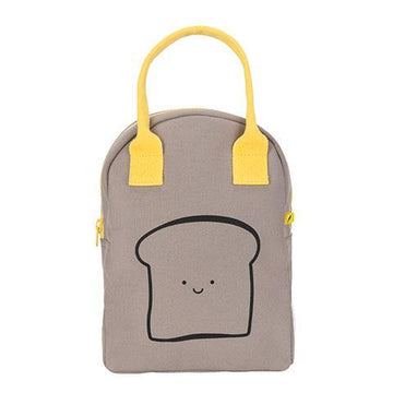 HAPPY BREAD Zipper Lunch Bag (Grey)