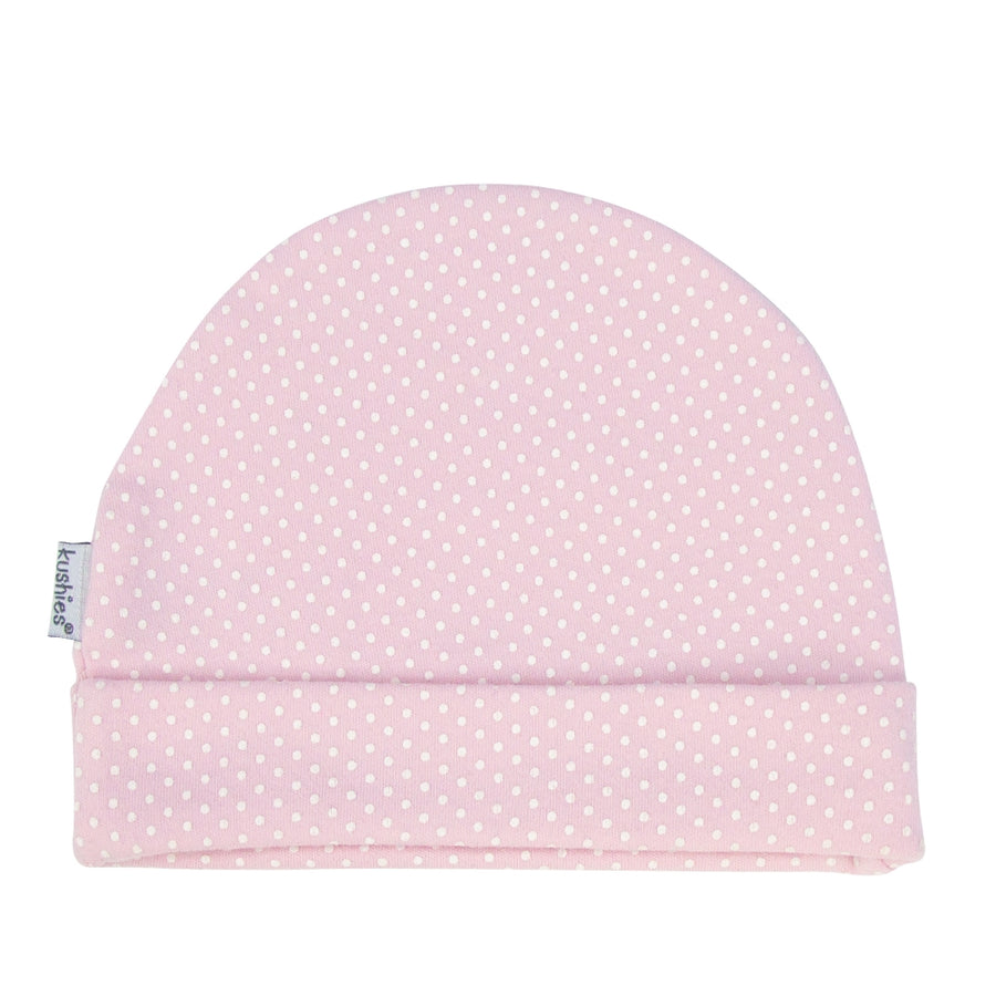 Baby Cap - Pink with White Polka Dots