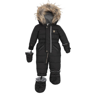 BLACK HOODED FAUX-FUR WINTER PUFFER 1-PIECE SNOWSUIT