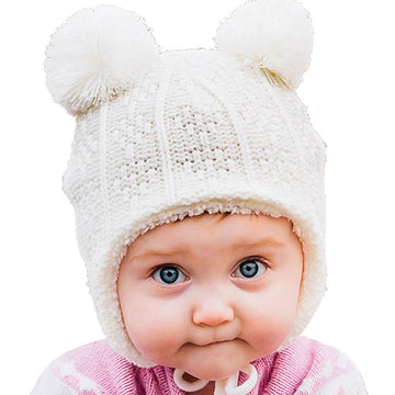Cream Bear Ear Flap Hat