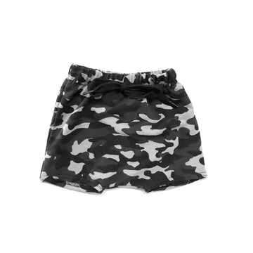 THE BLACK CAMO HAREM SHORTS