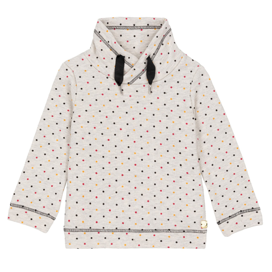 DOTTED FUNNEL COLLAR FLEECE SWEATSHIRT