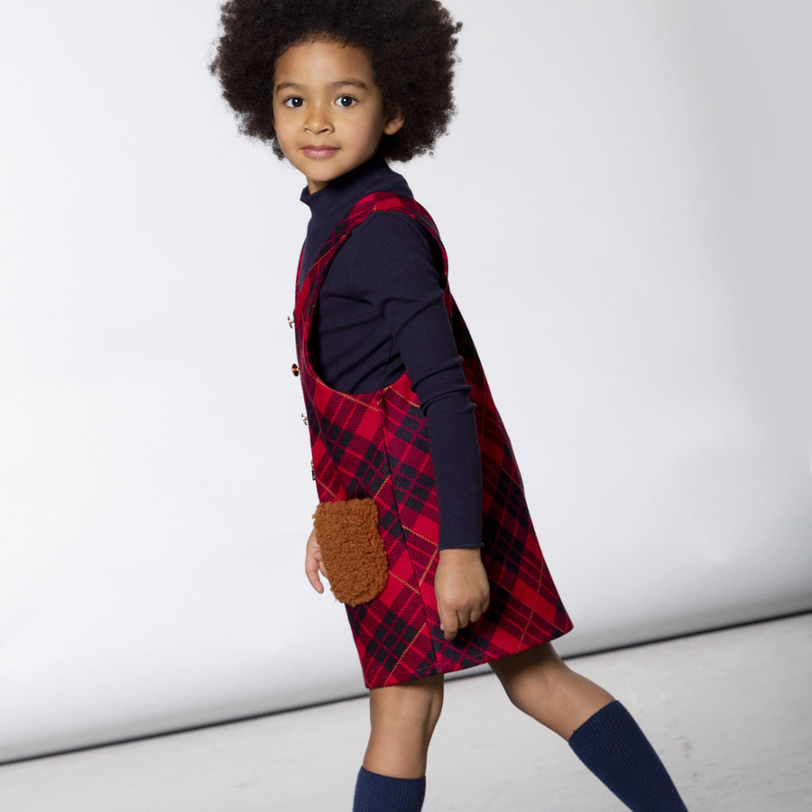 PLAID OVERALL JUMPER DRESS WITH SHERPA POCKETS