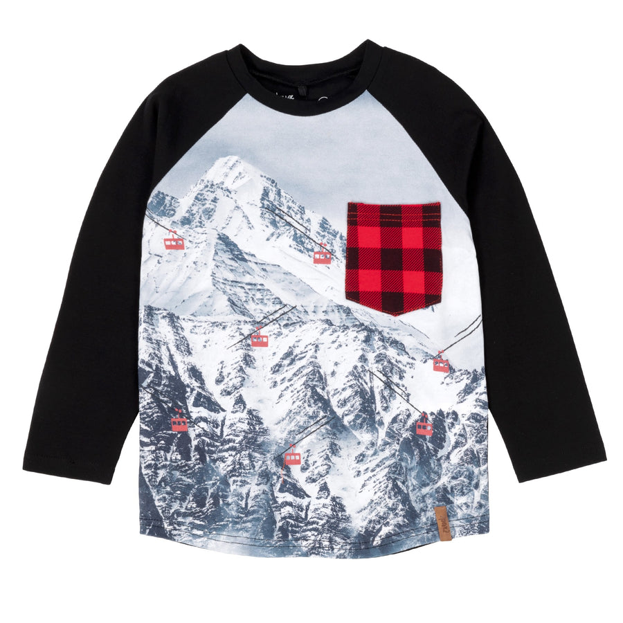 LONG-SLEEVE T-SHIRT WITH MOUNTAIN SCENE