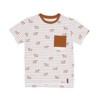 SHORT SLEEVE STRIPED T-SHIRT WITH DOG PRINT, BOY
